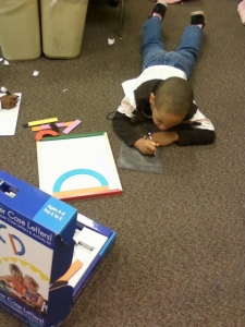 Student using Fundanoodle by Carolina Pad I Can Build Uppercase LEtters kit