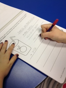 Practicing handwriting in the I Can Write My Own Stories Workbook
